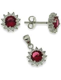 Parure de la plata Esterlina 925 con zirconia cúbico ruby regalo de Aniversario mujer
