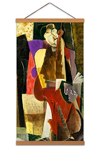 Weber The Cellist Abstract Painting Long Magnetic Hanger Canvas Art Print Wall Poster 24x12 inch Abstrakt Malerei Wand