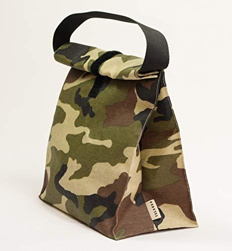 Lunchpaket. Wasserdichte Tasche mit Griff. Tasche für Lebensmittel. Gedruckte Tarnung. Lunchpaket. Sandwich-Beutel. Tasche für tupper - Braun Mittagessen Tasche