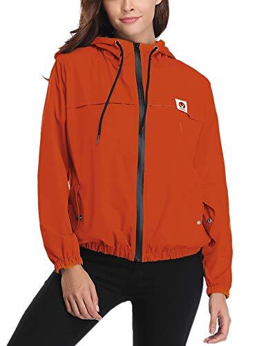 Windjacke Jacke Mantel (Aibrou Damen Leichte Regenjacke wasserdicht Kurze Windjacke mit Kapuze für den Außenbereich)