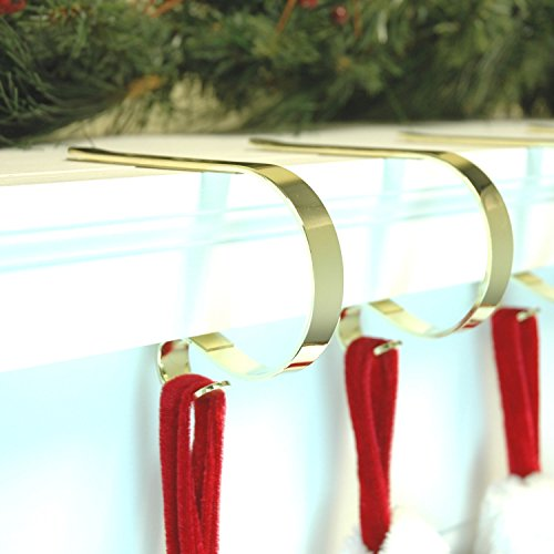 Beautiful Gold CHRISTMAS XMAS The original Mantel Mantle clips from the USA Stocking holders supports - holds the fullest stockings by (Dekorationen Mantel)