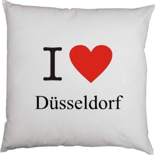 Kissen mit Füllung, Dekokissen, Couchkissen, Deko mit Herz - I love Düsseldorf
