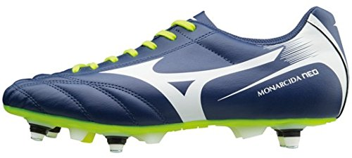 Monarcida Neo Mix SG Football Boots - Blue Depths White Safety Yellow - Size 10