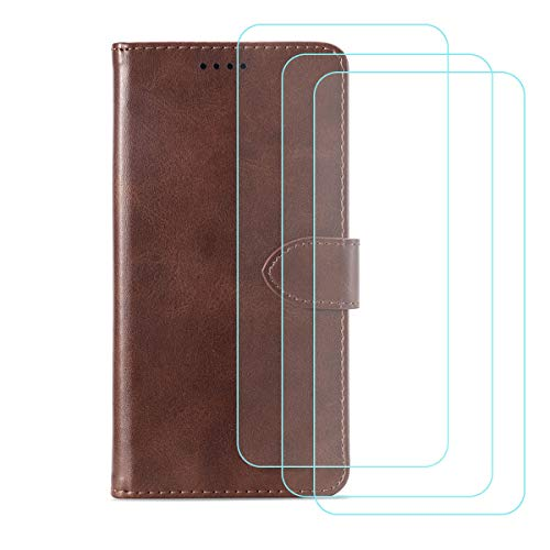 YZKJ Cover für HTC Desire 19+ / 19 Plus Hülle, Flip PU Ledertasche Handyhülle Wallet Tasche Schutzhülle Case mit Card Slot und Ständer + [3 Stück] Panzerglas Schutzfolie für (6.2