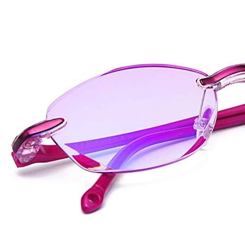 TERAISE Randlose Lesebrille Mode Diamant Cut Edge Design anti-blau Objektiv Brillenleser für...