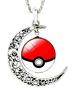 EVRYLON - Collar Pokemon Go Esfera Poke' Pokeball Doble Colgante Luna cabujón Hombre Mujer Regalo Bonito niño Blanco Rojo por Special4you export.Co. , Ltd