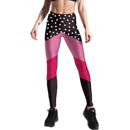 NLENG Frauen Workout Fitness Leggings Freizeitkleidung Yoga Leggings Strumpfhosen 15 Farben US S-3XL Black Red Pink XL(US L)