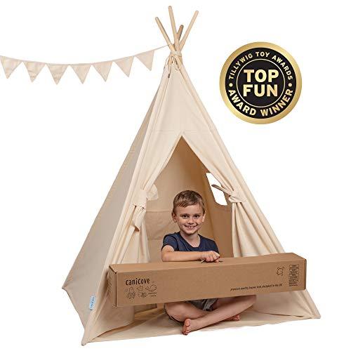Canicove Tipi Zelt Für Kinder - Faltbares Indoor & Outdoor Set Baumwolle Naturfarben mit Massivholzpfosten & Jux Flaggen für 2 Jungen & Mädchen (Naturfarben) Segeltuch Wigwam - Outdoor-flagge