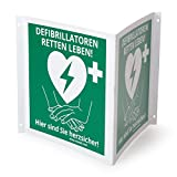 MedX5 (Upgrade 2019) Defibrillator (AED) Standort Kennzeichnung, Winkelschild 20cmx20cm, Defi Standortschild, AED Markierung