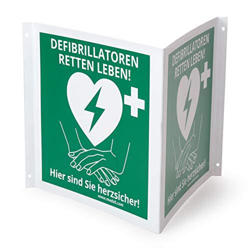 HIGHLIGHT PVC 20x20cm Winkelschild Automatisierter externer Defibrillator AED