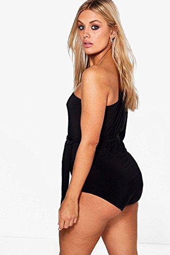 Femmes Noir Plus Abbi One Shoulder Slinky Bodysuit Noir