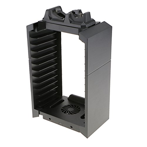 Gazechimp Soporte de Almacenamiento Consola Vertical de Videojuegos con Dual Dock de Carga Enfriador para PlayStation 4 Slim