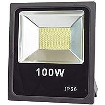 lineteckled®–e04.001.100F Proyector LED SMD Slim 100W para Exterior IP66luz fría (6500K) 10000lm 220V–Faro profesional para exterior con LED SMD–Alta luminosidad 10000lúmenes.–Bajo Consumo Dell '87% RISPETTO AL equivalente incandescente.