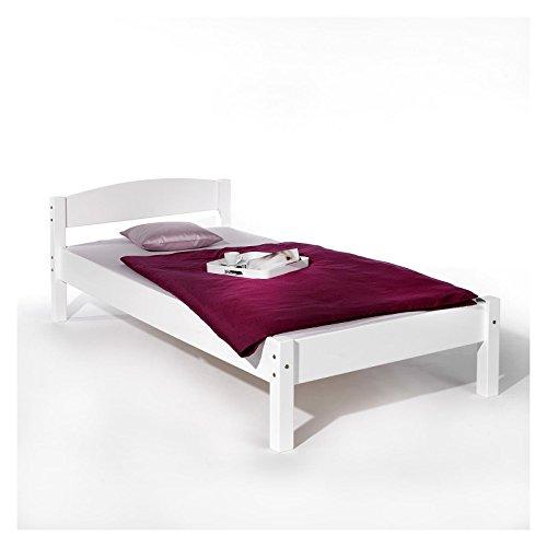 Einzelbett Jugendbett Bett Landhausbett JAN, Buche massiv, weiß lackiert 90 x 200