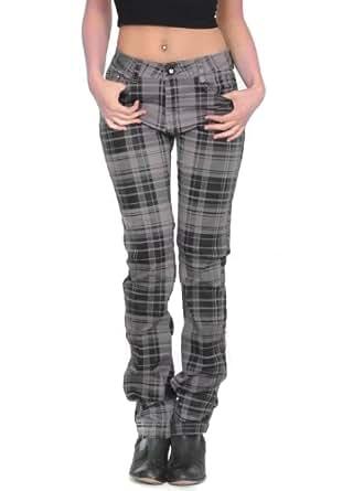 Tartan checked punk rockability skinny jeans - grey & black (8)