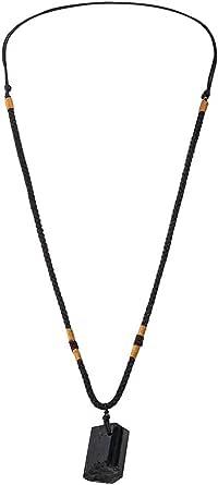 Elibeauty - Collana con ciondolo in tormalina naturale, tormalina nera grezza, collana in cristallo con anello singolo