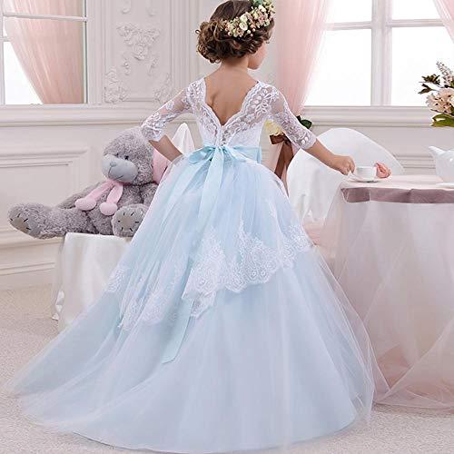 feiledi Trade Mädchen Kleid Langarm Spitze Top Tüll Rock Kinder Erstkommunion Kleider Langarm Kleid Show Robe Prinzessin Cinderella Kostüm Cosplay 140