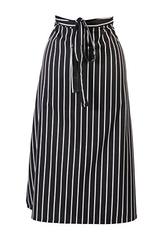 Mercer Culinary Genesis Lätzchen Schürze Mit Tasche, Black & White Chalk Stripe, 1 -
