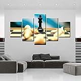 Htekgme 5 Leinwanddrucke Dekoration Leinwand Schach Malerei 5 Stücke Hd Drucke Wandkunst Modulare Wohnzimmer Bilder Poster
