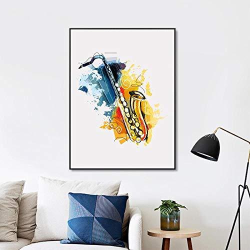 WADPJ Abstrakte Musikinstrumente Saxophon Wand Kunstdruck Poster Aquarell Jazz Leinwand Malerei Bild Home Decor-50x70cmx1 pcs kein Rahmen