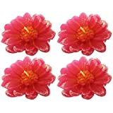 Flower Shape Handmade Floating Candles For Home Decoration Diwali & Best Puja Ambience, Without Fragrance Set Of 4 (Pink)