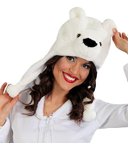 rmütze Eisbär Polarbär Bär Mütze Hut Erwachsene Tier Bärenkopf Karneval ()