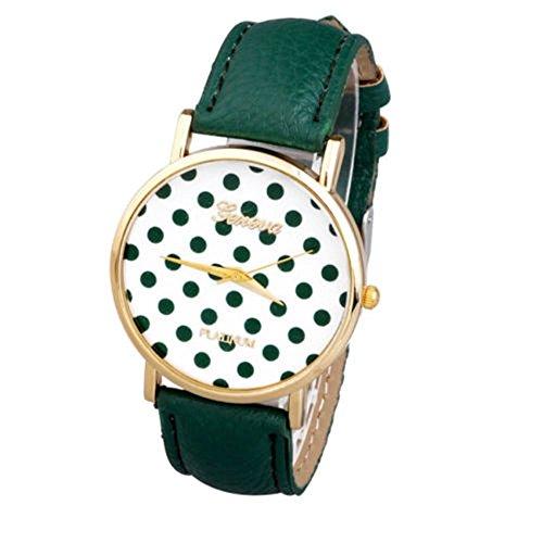 SSITG Uhr Vintage Polka Dot Damen Armbanduhr Basel-Stil Quarzuhr Lederarmband Uhr Xmas Gift Geschenk