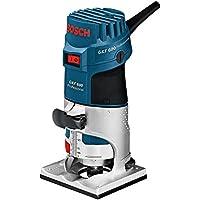 Bosch GKF 600 Professional - Fresadora de canto, 600 W, velocidad de giro en vacío 33000 min-1, portaherramientas 6 mm/8 mm, guía auxiliar, L-BOXX