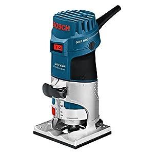 Bosch Professional GKF 600 – Fresadora de Canto, 600 W, Velocidad de Giro en Vacío 33000 min-1, Portaherramientas 6 mm/ 8 mm, Guía Auxiliar, L-BOXX, Negro/Azul/Acero Inoxidable