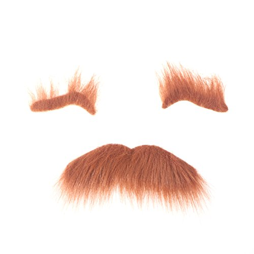 Bart Augenbrauen selbstklebend Halloween Fancy Karneval Kostüm Zubehör (Braun) ()