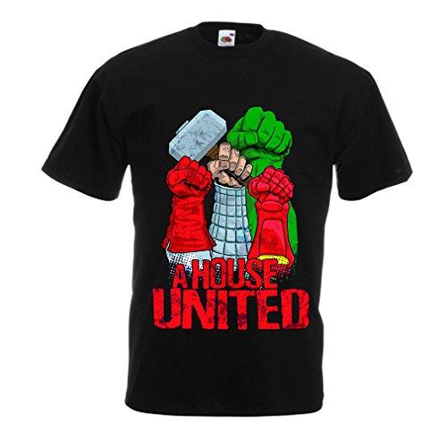 lepni.me Männer T-Shirt EIN Haus vereint! Ich Liebe Meine Familie, passende Outfits (X-Large Schwarz Mehrfarben) -