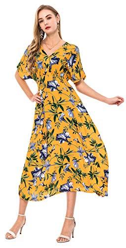 Wantdo Damen V-Ausschnitt Langes Kleid Bohemian Style Casual Plus Size Gelb + Blume X-Large
