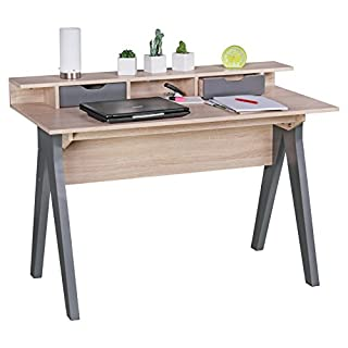 Wohnling Schreibtisch SAMO 120 cm, Design Büro-Tisch in Sonoma Eiche, Moderner Computer-Tisch mit 2 Schubladen und Stauraum, Platzsparender Computer-Schreibtisch für Laptop geeignet grau