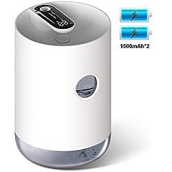 Humidificateur d'Air sans fil - Unité d'humidification de qualité supérieure rechargeable avec réservoir d'eau de 1L, Ultrasonique fonctionnement silencieux, Arrêt automatique et Fonction de veilleuse