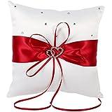 20cm × 20cm Nuptiale Bague de poche de mariage coussin Coussin porte-charge avec double coeurs Décoration, ivoire blanc / rouge / bleu / violet ( Couleur : Rouge )