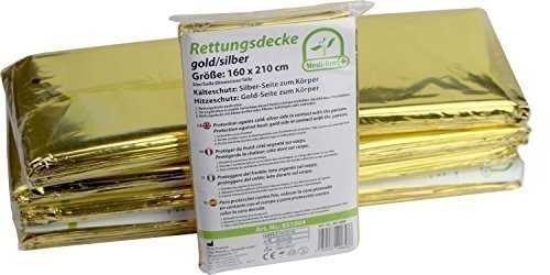 10 Stück Rettungsdecken GOLD-SILBER Rettungsfolie Medi-Inn Rettungsdecke 160 x 210 cm (Badartikel)
