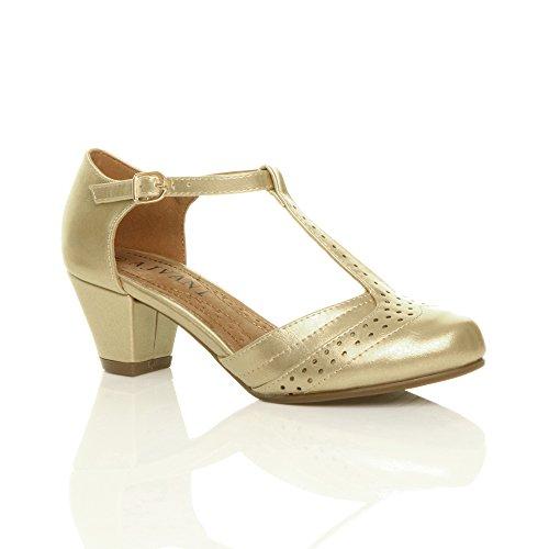 Femmes talon moyen salomé découper chaussures richelieu escarpins pointure Or métallique