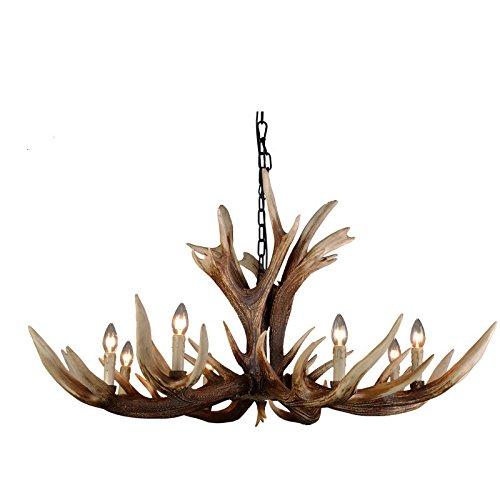 EFFORTINC Antlers Weinlese Artharz 6 helle Kronleuchter, amerikanische landwirtschaftliche Landschaftgeweih-Kronleuchter, Wohnzimmer, Stab, Kaffee, Speiseraumhirsch-Hornleuchter -