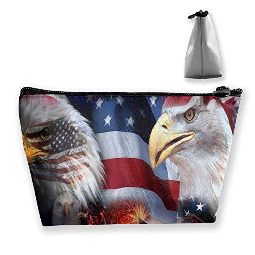 American Eagle Handtasche (Unisex Make-up Tasche Portable Travel Cosmetic American Eagle und Flag Fashion Zipper Trapez Geldbörse für Geschäftsreisen)