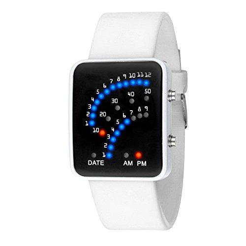 Ears Unisex LED Uhr Sport Armbanduhr Kinder Stoppuhr Digital Uhren Uhr ist Eine tägliche Verwendung Wasserdichte Armbanduhr einzigartig Blaue Zeigen die Uhrzeit und Das Datum an (Weiß) (Uhr Digitale Kind)