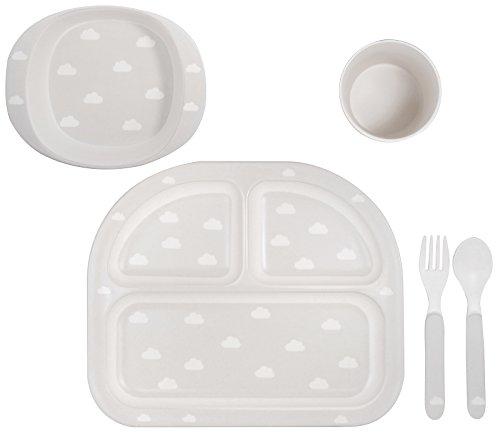 Kindsgut Geschirr-Set, Baby-Besteck, Wolken grau