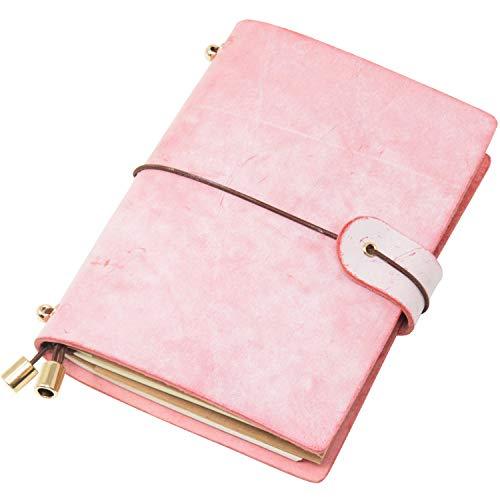 h aus echtem Leder, mit weichem Einband, nachfüllbare Seiten, Leder-Tagebuch für Geschenke, Tagebuch, handgefertigt Passport Size rose ()