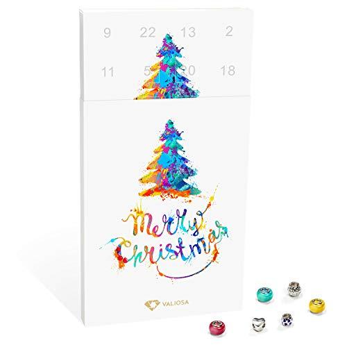 VALIOSA Mode-Schmuck Adventskalender,Merry Christmas' mit Halskette, Armband + 22 individuelle Perlen-Anhänger aus Glas und Metall, bunt, Das Besondere Geschenk für Mädchen und Frauen