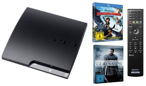 Console PS3 Super slim 160 GB black inkl. Sony Fernbedienung + Gladiator + Drachenzähmen leicht gemacht (BluRay) [import allemand]