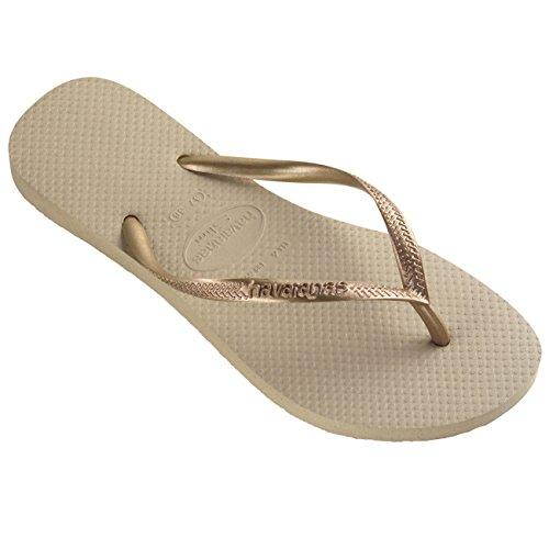 Havaianas Unisex Kinder Slim Multi Gummi Brasilien Sandalen Flip-Flops - Grau/Leicht Gold - 25/26 - Havaianas Brasilien