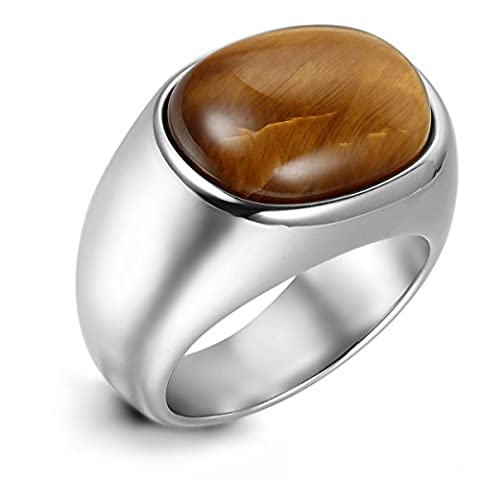 Flongo Men's Vintage Stainless Steel Brown Oval Cabochon Ring Classic Tiger Eye Band, Size N