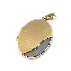 ASS 333 Gold Medaillon Anhänger, oval,matt ,Bicolor mit Zirkonia zum Öffnen