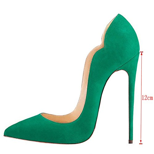 MERUMOTE , Bout pointu femme Green-Faux Suede