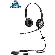 mairdi m805duc USB auricular con micrófono Dual auriculares con micrófono con cancelación de ruido Ultra buena y gran comodidad almohadillas cojín para centros de llamadas teléfono suave y oficinas comunicación con gancho conmutador para mictrosoft Lync y Skype