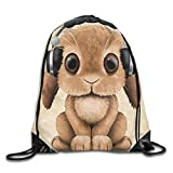Headphone Bunny Drawstring Backpack Bags Rucksack Shoulder Bags Sackpack Sport Gym Bag Yoga Runner Beach Hiking Dance